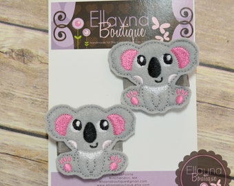 Felt Hair or Planner Clips - Koala Bear