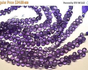 40%OFF 8 Inch 6-9mm Natural Amethyst Faceted Heart Briolette Beads Strand-45 Beads Apx Per Strand(#K)