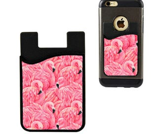 Cell Phone Caddy/Cell Phone Case/Flamingo Credit Card Holder/Debit Card Holder/Cell Phone Pocket/Student ID Holder/Flamngo Card Holder