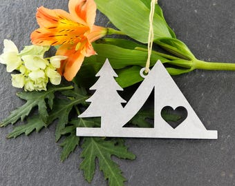 Love Camping Outdoors Christmas Ornament  Rustic Aluminum Holiday Gift for Her Him Fall Decor Wedding Favor Tent Camping Gift Home Iron Maid