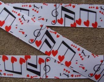 "3 yards Music ribbon love note Ribbon music notes ribbon rainbow notes ribbon red and black note ribbon teacher ribbon 7/8"" grosgrain ribbon"