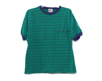 Vintage 80s striped tshirt pocket t green blue made in usa