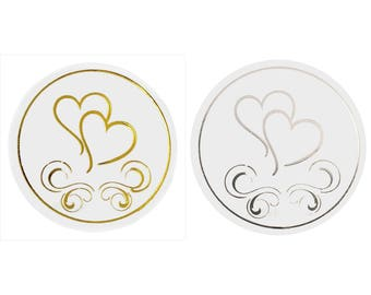 50x Silver or Gold Heart Envelope Stickers Seals Wedding Invitations, FREE POSTAGE Australia Wide