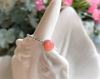 Pink Opal Ring - Sterling Silver Ring - Silver Ring - Opal Ring