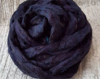 Silk Sliver 'Raven' 25grams Soft, Luxurious, Pulled /Carded Black colour flecked Recycled Sari Silk Fibre for Spinning, Felting, Weaving etc