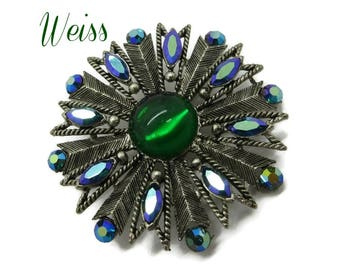 Weiss Emerald Rhinestone Brooch, Vintage Green & AB Rhinestone Brooch Silver Tone Signed Designer Jewelry, FREE SHIPPING