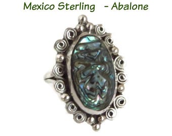 Sterling Silver - Taxco Mexico Ring, Vintage Carved Abalone Ring, Statement Ring, Gift for Her, Size 7, FREE SHIPPING