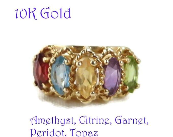 10K Gold Multi Stone Ring, Vintage Amethyst, Citrine, Garnet, Peridot, Topaz Ring, Size 6, FREE SHIPPING