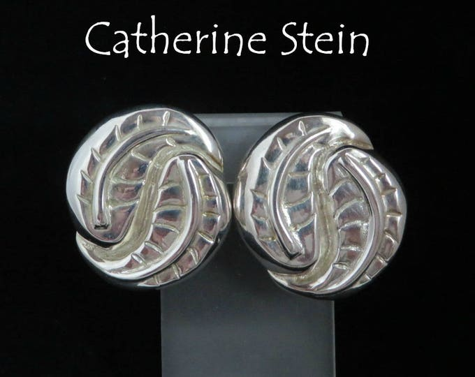 Catherine Stein  Leaf Earrings, Vintage Silver Plated Earrings, Signed Designer Clip-on Earrings, FREE SHIPPING