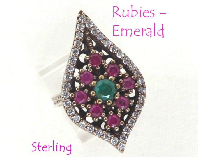 Ruby - Sterling Silver Statement Ring, Vintage Ruby, Emerald and CZ Ring, Two Tone Sterling Silver, Size 7, Gift for Her, FREE SHIPPING