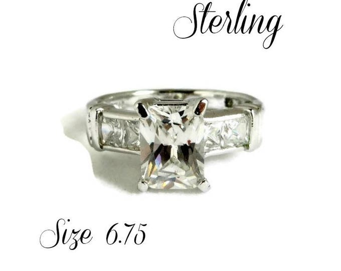 Sterling Silver CZ Engagement Ring, Vintage Emerald Cut Cubic Zirconia Ring, Bridal Jewelry Size 6.75, Gift Box, Perfect Gift, FREE SHIPPING