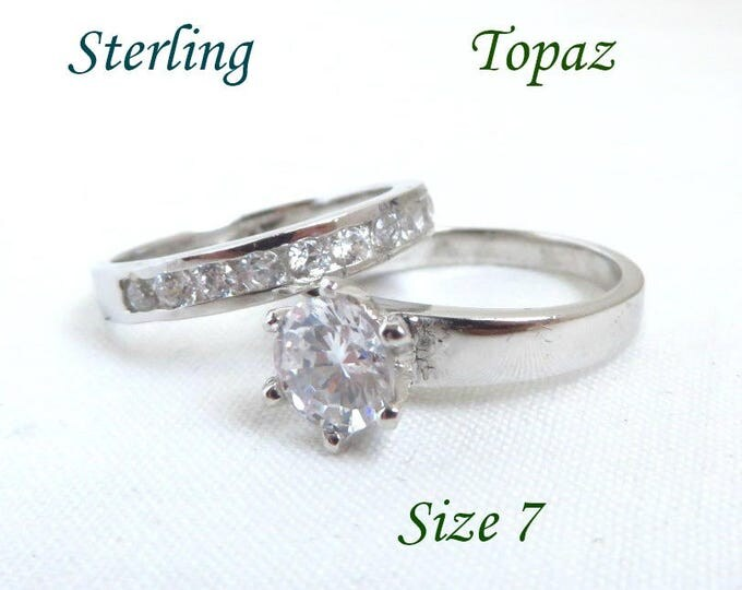 Sterling Silver Wedding Ring Set, Vintage Topaz Engagement Ring, Wedding Band, Size 7, Gift for Her, FREE SHIPPING