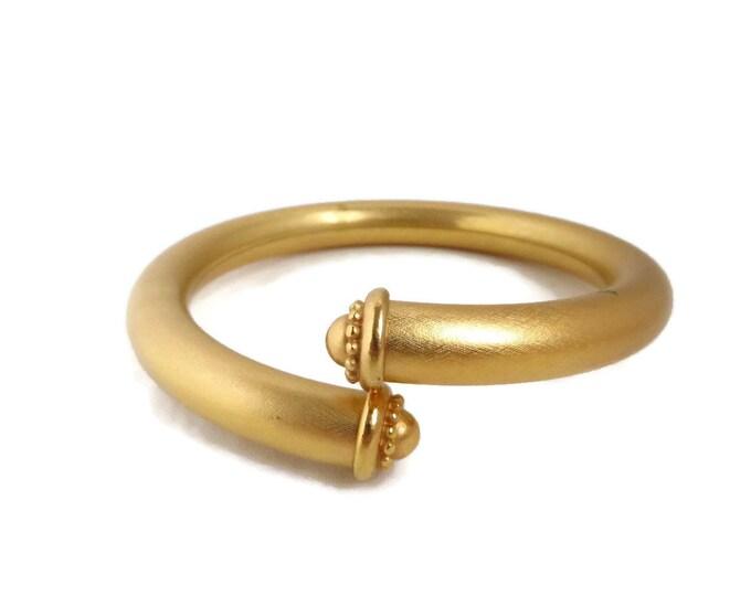 Vintage Matte Gold Tone Bracelet, Rounded Bypass Bangle