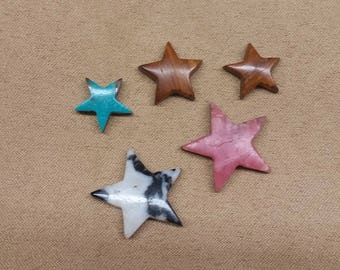 55% OFF Assorted Star Cabochon Set/ backed/ seconds/ turquoise/ onyx/zebra marble/ rhodocrosite