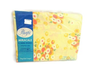 Vintage Twin Flat Sheet - Pacific Miracale  - New Old Stock