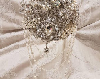 Brooch bouquet with drapes, brooch bouquet, vintage bouquet,  wedding bouquet,  alternative bouquet,  jewelled bouquet, heirloom bouquet