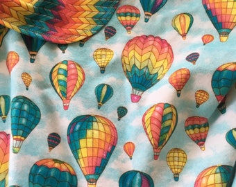 Double Flannel Receiving Blanket ~ Flannel Baby Blanket ~ Swaddle Blanket ~ Baby Girl or Boy Flannel Blanket ~ Hot Air Balloon ~ Chevron