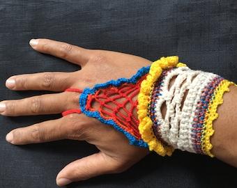 Boho bright bracelet, colourful handcuff. Crochet bracelet. blue bohemian bracelet. crochet cotton cuff. bright hippy bracelet. laced cuff