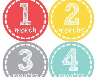 Baby Month Stickers, Baby Boy Gift, Milestone Stickers, Monthly Sticker, Monthly Baby Boy Stickers, Baby Month Milestone Stickers  168