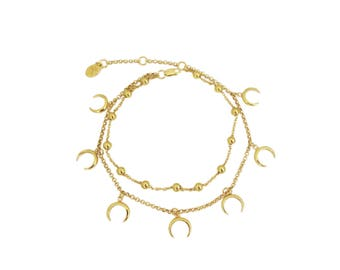 Bracelet anklet with horns summer claw sterling silver charms