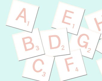 Alphabet Clip Art, Pink Printable Letters, Scrapbook Stickers, Digital Scrapbooking, Full INSTANT DOWNLOAD Alphabet, DIY Printable Clipart