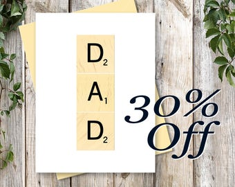 Printable Father's Day Card - Gift For Dad - Printable Art - INSTANT DOWNLOAD - Digital Card - DAD Scrabble Art for Scrabble Lovers