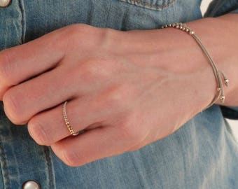 """Chain Ring - Gold filled Ring - """"June"""" - Stacking ring - Gold fill ring -  Gold plated stacking ring - Gold fill minimalist ring"""