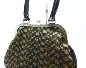 Black & gold Turu bag / Vintage kimono Obi bag/ Hand made bag /1