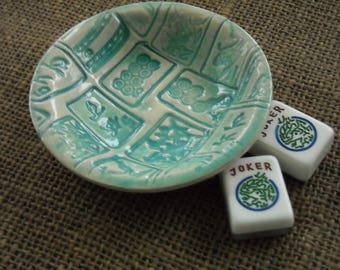 Mahjong Bowl - Small Mahjong Bowl - Ring Dish - Dip Dish - Oriental Bowl -  Mahjong Pottery - Mahjong Gift