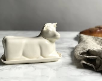 Ceramic Cow Butter Dish