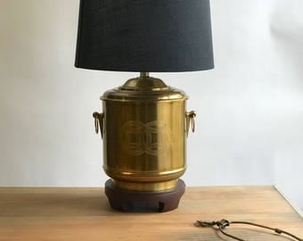 Large Brass Asian Lamp, Brass Chinoiserie Lamp, Brass Urn Lamp