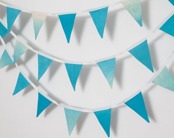 Small hand made Bunting, in various hues of Blue, perfect for your Gender Reveal, Wedding, Party or home.