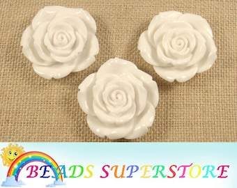 42 mm White Rose Flower Resin Bead - Gumball Bead - Acrylic Chunky Bead  (42M03)