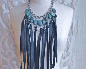 SUMMER SALE Turquoise and Leather Fringe