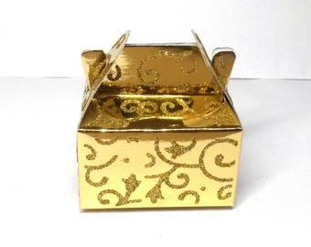 10 boxes rectangular wrap laminated cardboard gift box with glitter