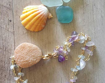Druzy and Agate Rosary chain Bracelet