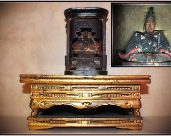 Devil General' Samurai BUSHI Daimyo Kato Kiyomasa 'Toranosuke' figurine + Japanese Buddhist altar