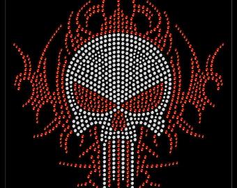 Halloween Skeleton Skull Flame Tribal Rhinestone Iron On Transfer Hotfix Bling