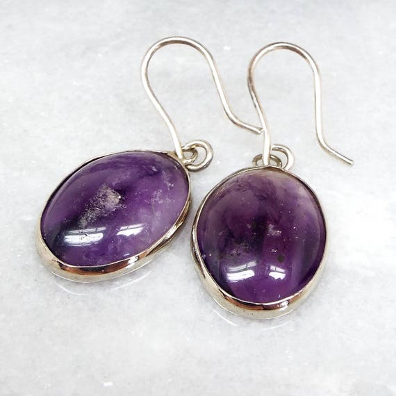 Vintage Art Deco Sterling Silver Purple Amethyst Cabochon Hook Drop Earrings