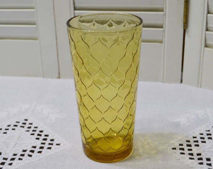 Vintage Anchor Hocking Amber Glass Tumbler Honey Comb Moroccan Pattern Replacement Made in USA PanchosPorch