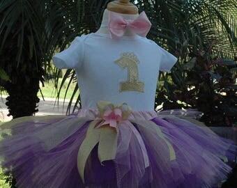 Purple birthday outfit, purple tutu,purple onesie,1st Birthday, girl outfit tutu,purple and gold,glitter, personalized, custom made,posh