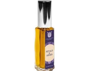 Petals&Ashes - Natural eau de perfume, white floral bitter-sweet with yuzu, neroli, rose, jasmine, mitti attar and agarwood attar  Flacon