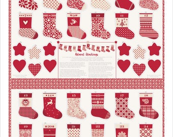 Merry Merry - Red Advent Stocking Panel by Kate Spain for Moda, 27270 13