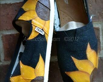 Sunflower Power Hand Painted Custom TOMS® Shoes | Black Canvas |Sunflower | Espadrilles |Slip On Shoes | Yellow Sunflower|ArtisticSoles