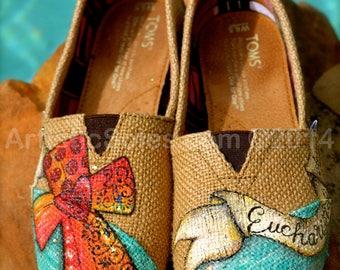 Eucharisteo | Custom TOMS® Shoes | Beige Burlap | Custom Painted Cross | Turquoise | Espadrille | Summer Shoes |
