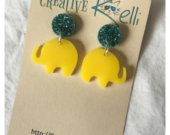 Acrylic Earrings, Elephant, Yellow, Glittery Teal