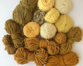 Deluxe Yarn Sampler // Curated Yarn Bundle // Weaving Crafting School Home Projects Party Decor // Yellow & Golden Multi Pack // Stash Sale