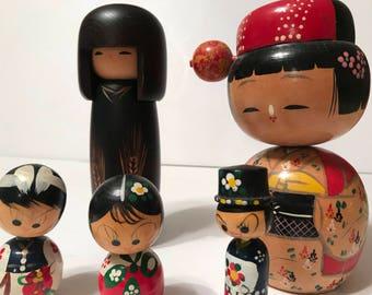 Set of five vintage Kokeshi dolls