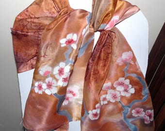 Hand Painted Silk Scarf  beige with sakura .