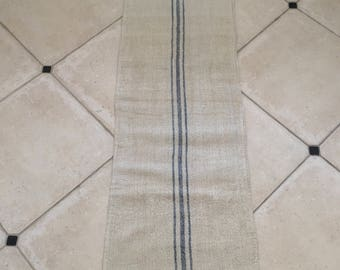 NS13123 Blue Stripe Twill Natural Limestone Vintage Linen Grainsack